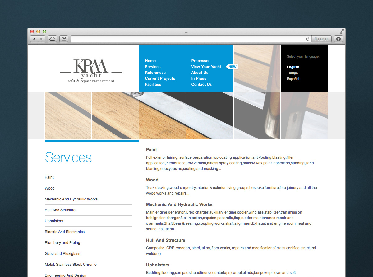 KRM Yacht Web Site Design
